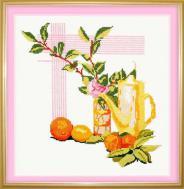 """Набор для вышивания 122 """"Натюрморт с апельсином"""" 25х26см"""