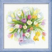 """Набор для вышивания 100-008 """"Акварельные тюльпаны"""" 30х30см"""