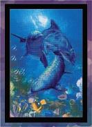 """Набор для вышивания РТ-0014 """"Три дельфина"""" 30х40см"""