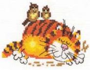 """Набор для вышивания 0-01 """"Ленивый кот"""" 11х9см"""