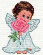 """Набор для вышивания 0-13 """"Ангелок любви"""" 10х14см"""