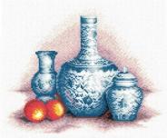 """Набор для вышивания В-087 """"Голубые вазы"""" 26,5х21,5см"""