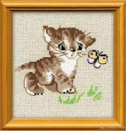 """Набор для вышивания 1049 """" Котенок с бабочкой"""" 15х15см"""