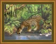 """Набор для вышивания РТ-0023 """"Леопард у воды"""""""