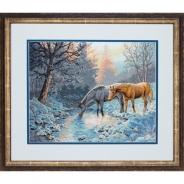 """Набор для вышивания 35294 """"Морозное утро и лошади"""" 38,1х30,4см"""