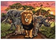 """Набор для вышивания 5678-1214 """"Африканские звери"""" 27х40см"""