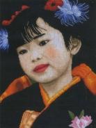 """Набор для вышивания 21214 """"Японская девочка"""" 27х37см"""