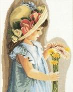 """Набор для вышивания 35122 """"Девочка в цветочном уборе"""" 29х39см"""
